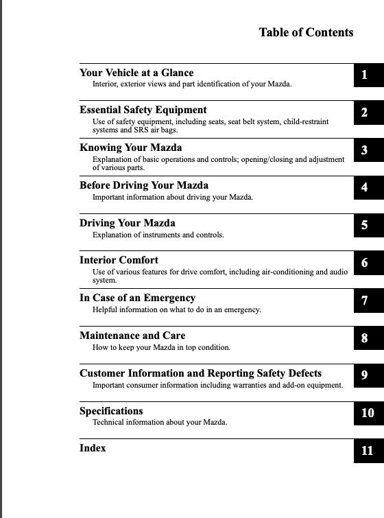 2008 Mazda3 Sports Owner's Manual Image