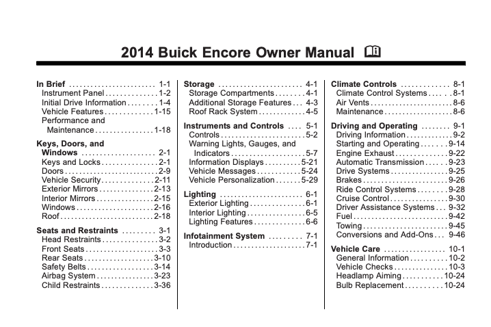 2014 Buick Encore Owner's Manual Image