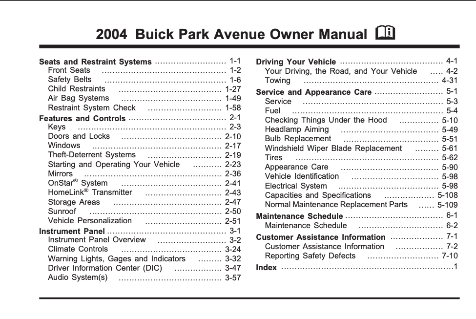 2004 Buick Park Avenue Owner's Manual Image
