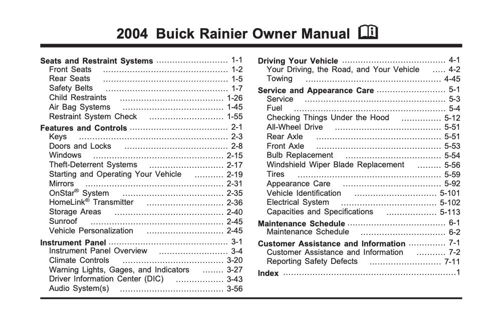 2004 Buick Rainier Owner's Manual Image