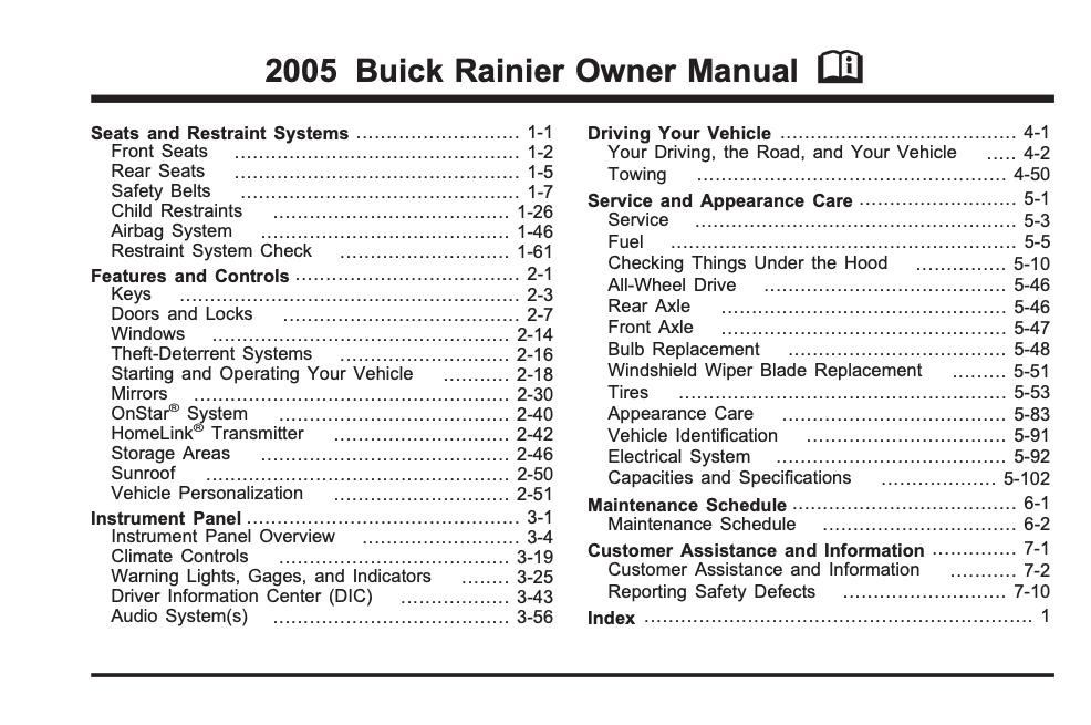 2005 Buick Rainier Owner's Manual Image