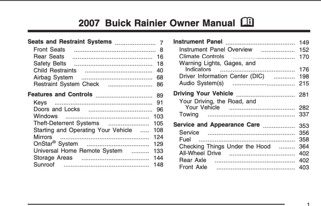 2007 Buick Rainier Owner's Manual Image