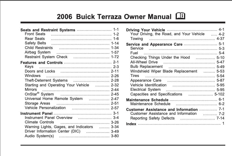 2006 Buick Terraza Owner's Manual Image