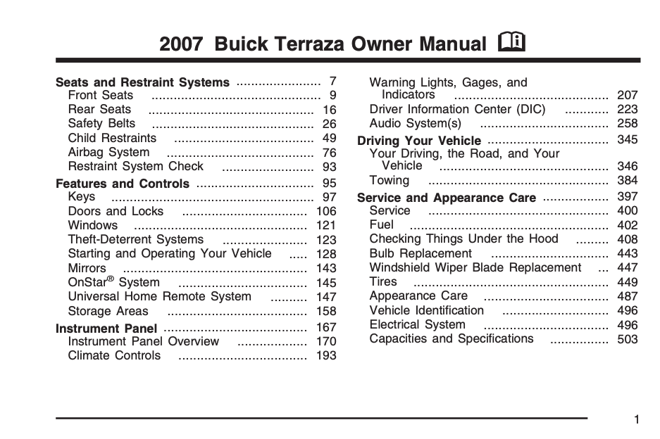 2007 Buick Terraza Owner's Manual Image