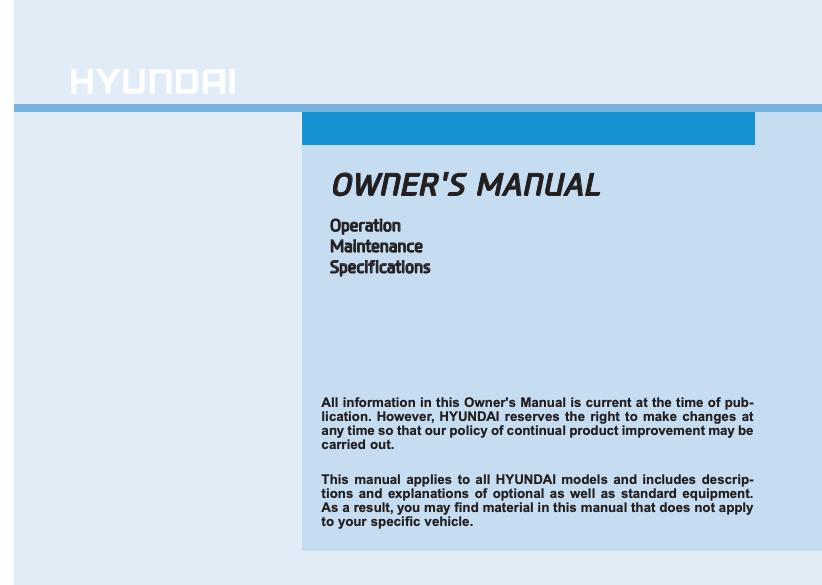 2019 Hyundai Kona Owner's Manual