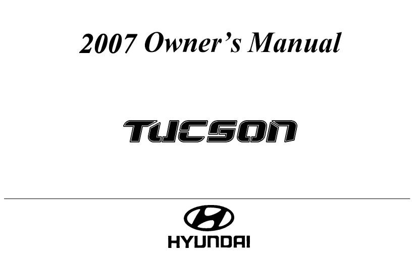 2007 Hyundai Tucson Owner's Manual Image
