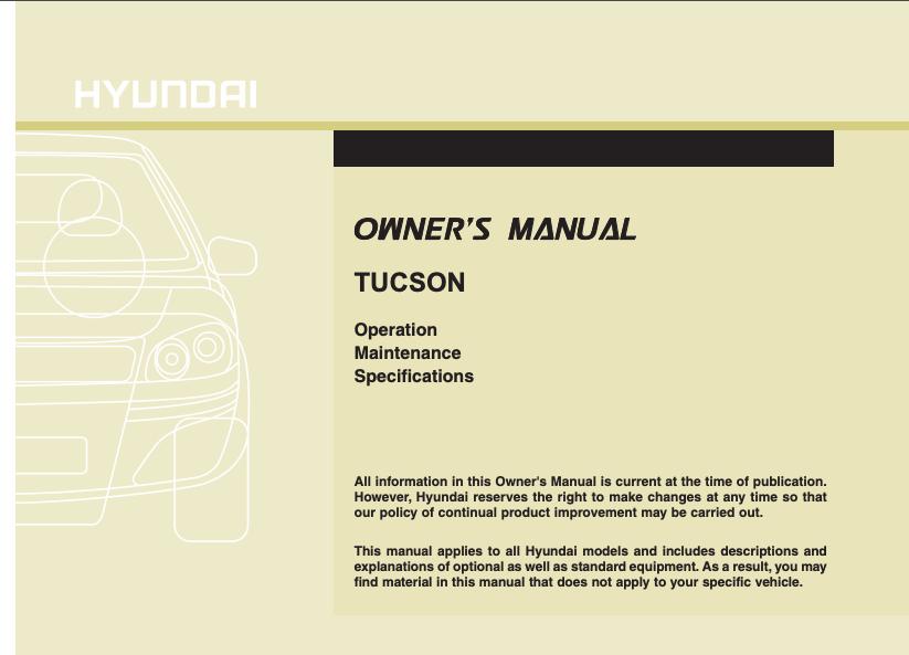 2010 Hyundai Tucson Owner's Manual Image