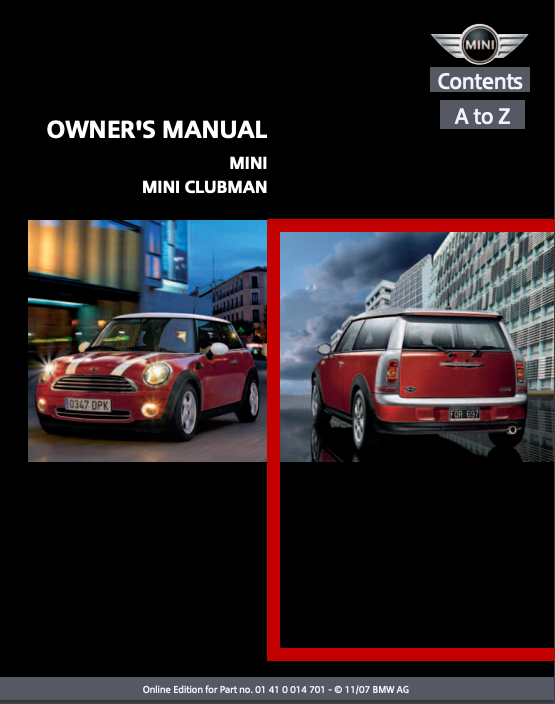 2008 Mini Clubman Owner's Manual Image