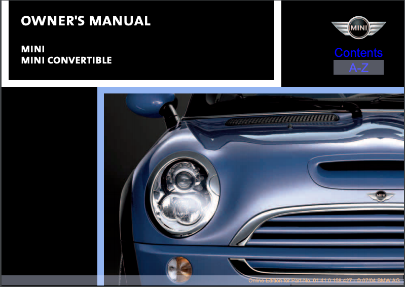2005 Mini Convertible Owner's Manual Image