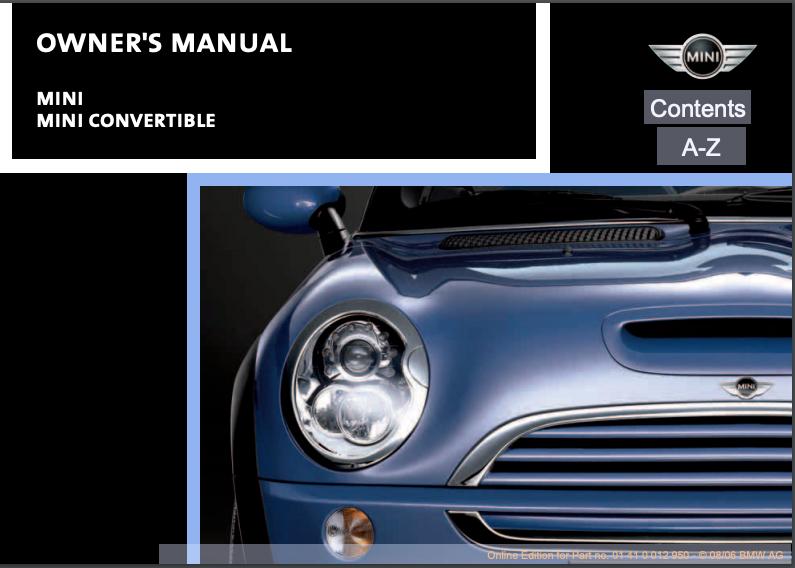 2007 Mini Convertible Owner's Manual Image