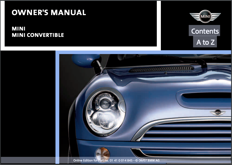 2008 Mini Convertible Owner's Manual Image