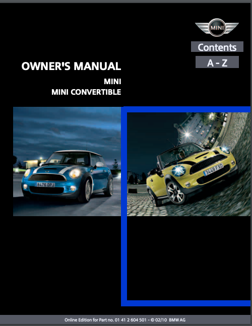 2010 Mini Convertible with Mini Connected Owner's Manual Image