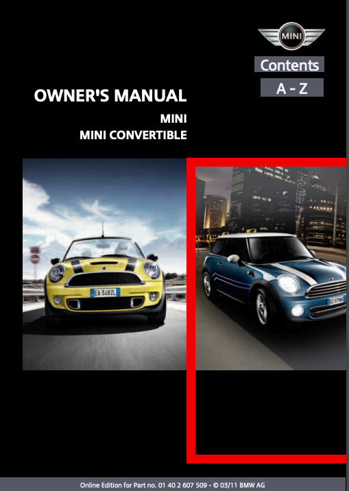 2011 Mini Convertible with Mini Connected Owner's Manual Image