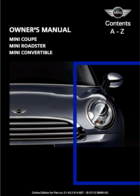 2012 Mini Convertible with Mini Connected Owner's Manual Image