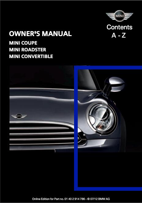 2012 Mini Convertible Owner's Manual Image