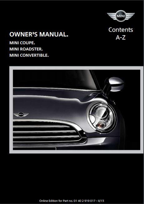 2013 Mini Convertible Owner's Manual Image