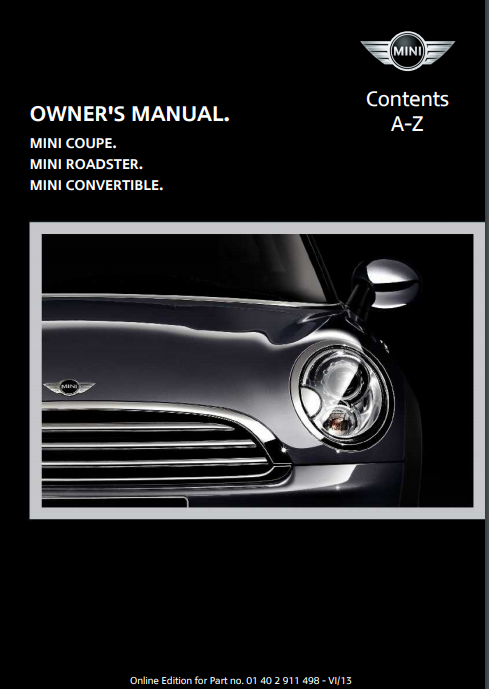 2014 Mini Convertible with Mini Connected Owner's Manual Image