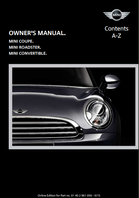 2015 Mini Convertible with Mini Connected Owner's Manual Image