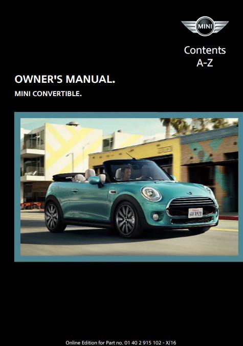 2017 Mini Convertible Owner's Manual Image