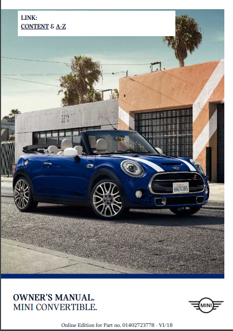 2019 Mini Convertible Owner's Manual Image