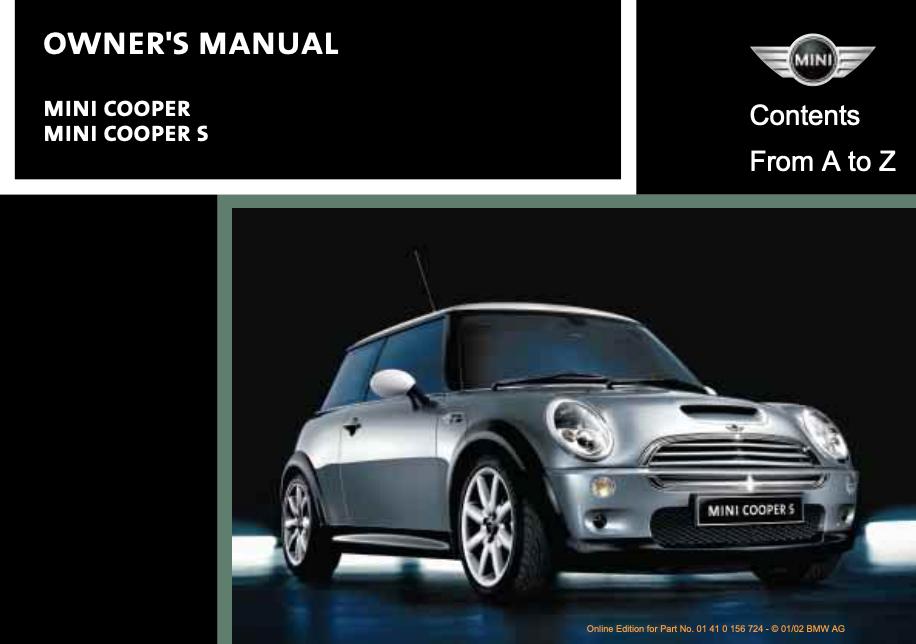 2002 Mini Cooper/ Mini Cooper S Owner's Manual Image