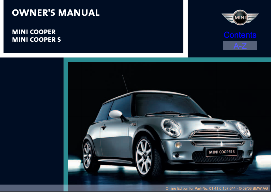 2004 Mini Cooper/ Mini Cooper S Owner's Manual Image