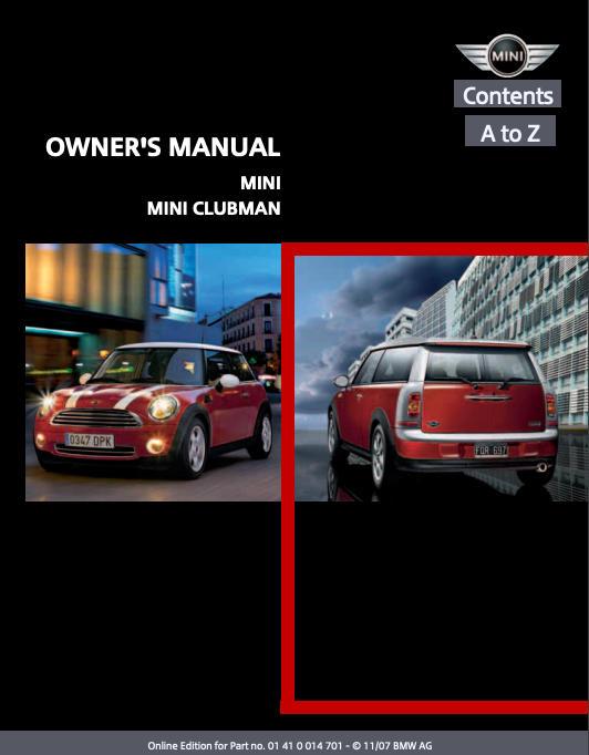 2008 Mini/ Mini Clubman Owner's Manual Image