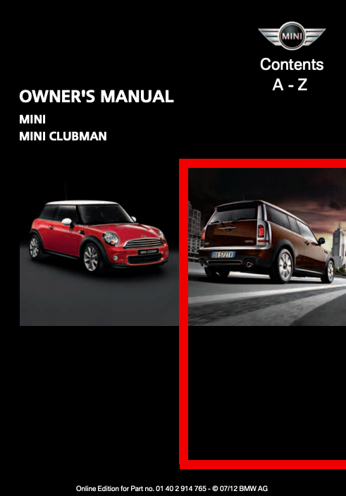 2012 Hardtop 2-door with Mini Connected Owner's Manual Image