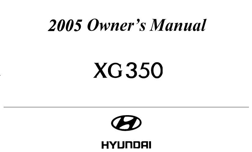 2005 Hyundai XG350 Owner's Manual Image