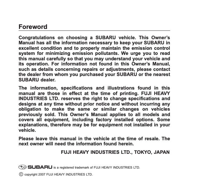 2008 Subaru Forester 2 5x Owner S Manual Ownermanual