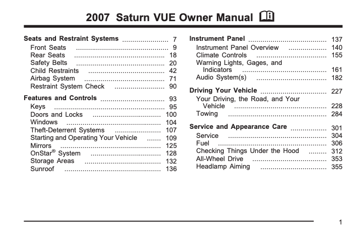 2007 saturn vue owners manual [sign up & download] | ownermanual  owner manuals