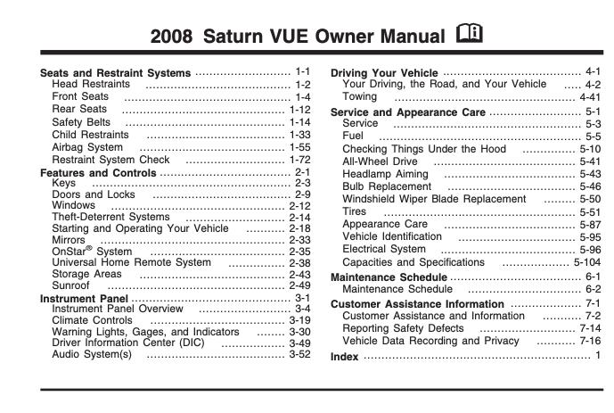 2008 Saturn Vue Owner S Manual Sign Up Download Ownermanual