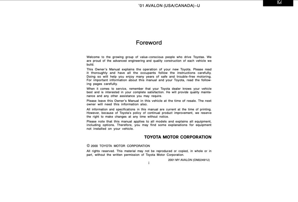 2001 Toyota Avalon Owner's Manual (OM22491U) Image