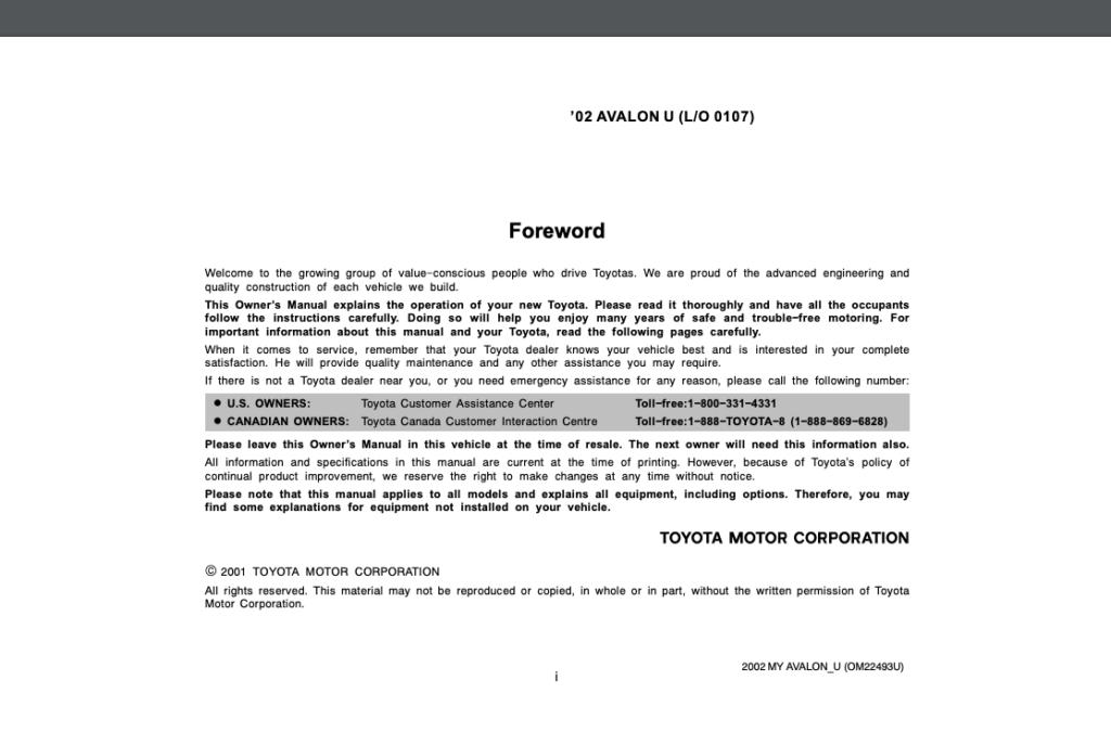 2002 Toyota Avalon Owner's Manual (OM22493U) Image