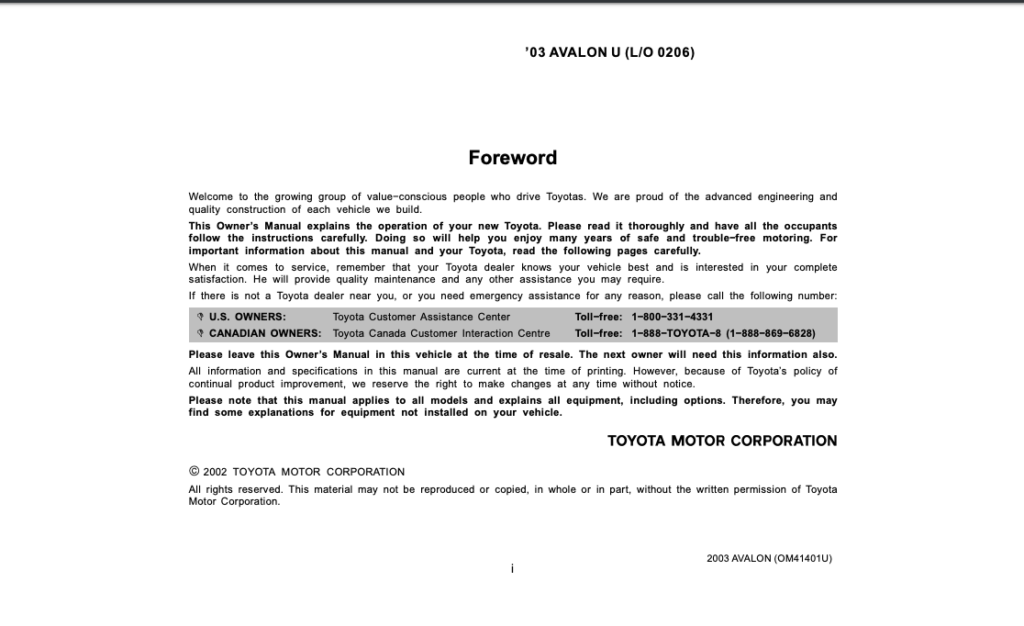 2003 Toyota Avalon Owner's Manual (OM41401U) Image