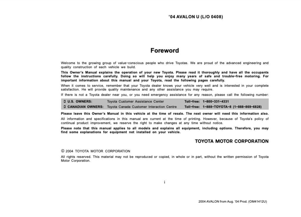 2004 Toyota Avalon Through Jul. 2004 Prod. Owner's Manual (OM41404U) Image