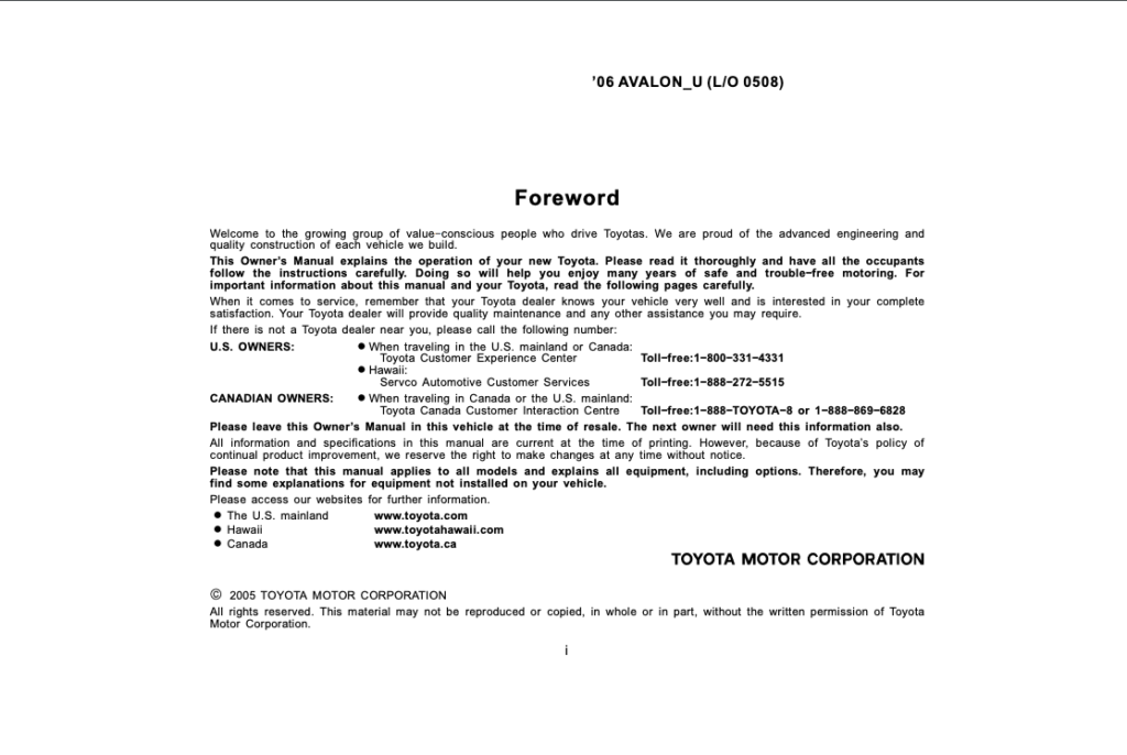 2006 Toyota Avalon Owner's Manual (OM41414U) Image