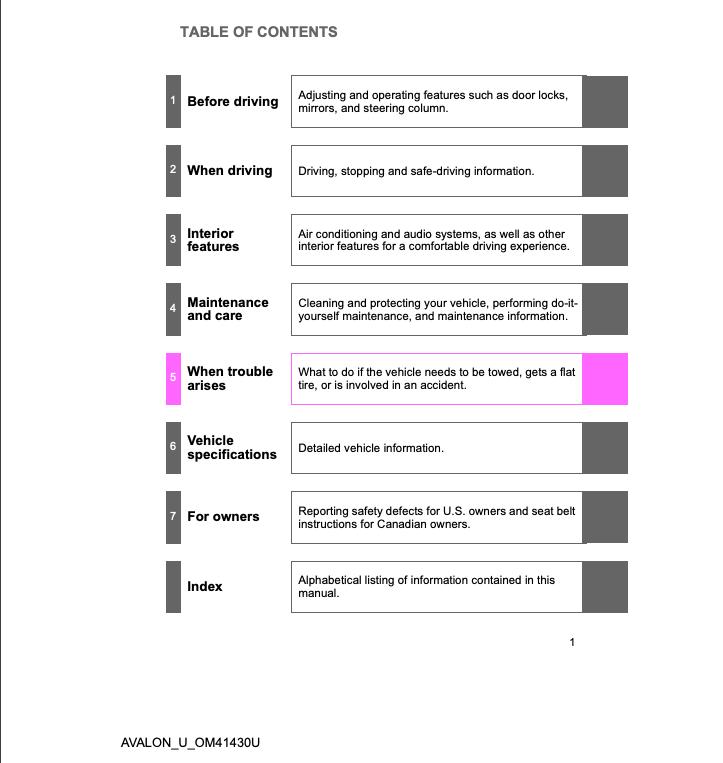 2009 Toyota Avalon Owners Manual (OM41430U) Image