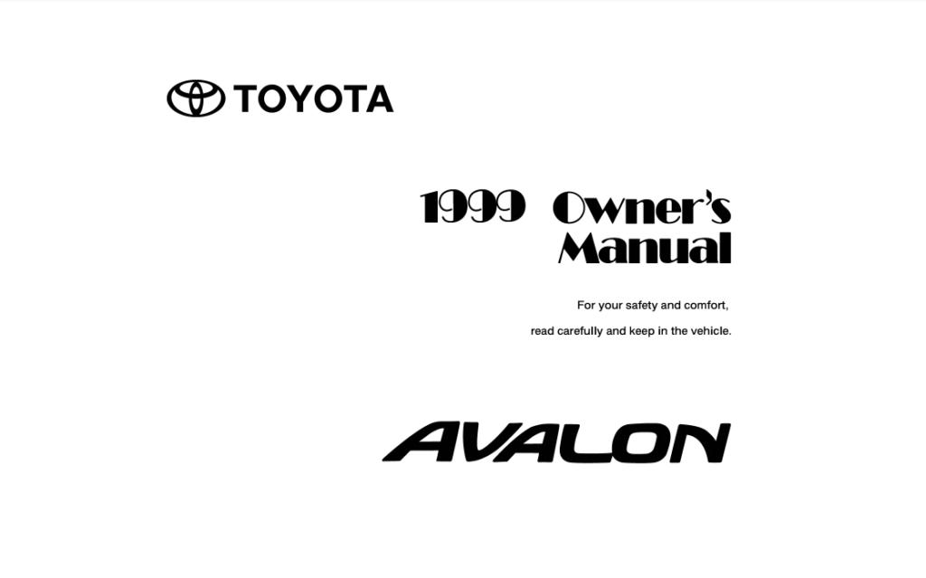 1999 Toyota Avalon Owner's Manual (OM22490U) Image