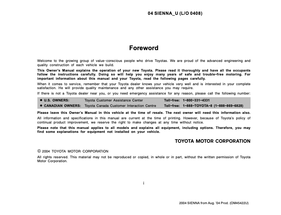 2004 TOYOTA SIENNA OWNERS MANUAL