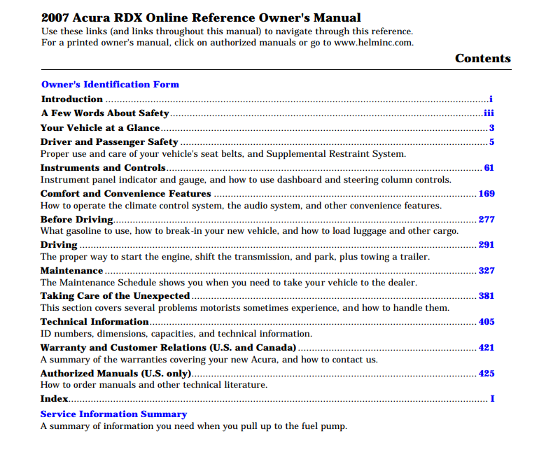 2007 Acura RDX Owner's Manual