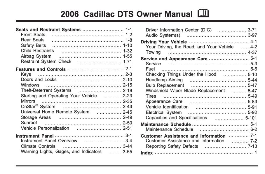 2006 Cadillac DTS Owner's Manual Image