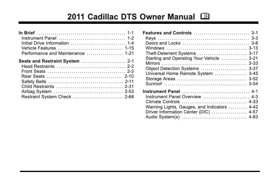 2011 Cadillac DTS Owner's Manual Image