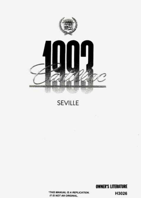 1993 Cadillac Seville Owner's Manual Image