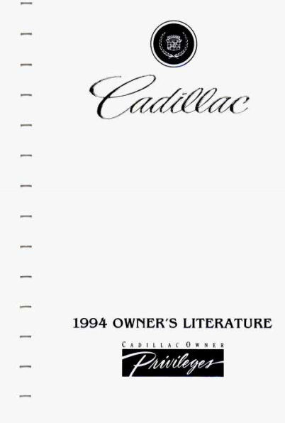 1994 Cadillac Seville Owner's Manual Image
