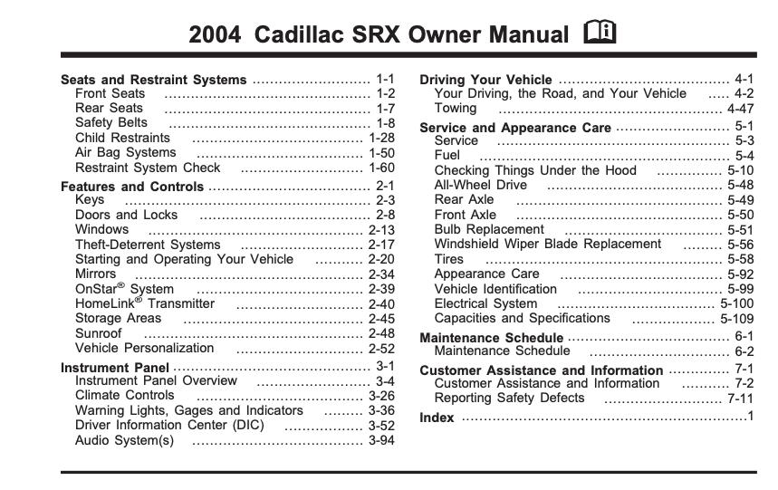 2004 Cadillac SRX Owner's Manual Image
