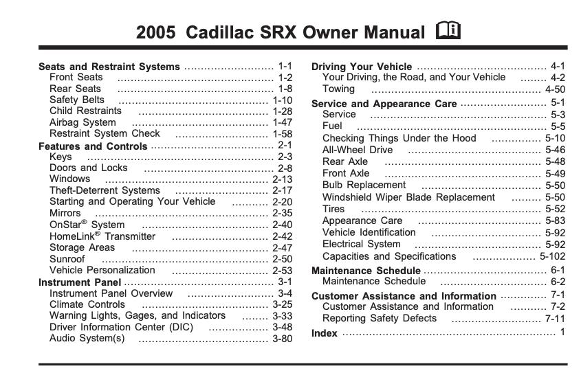2005 Cadillac SRX Owner's Manual Image