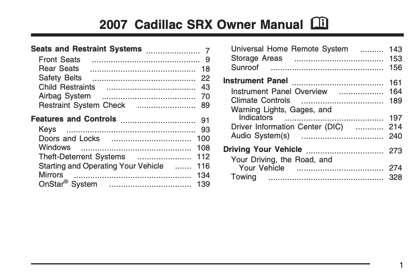 2007 Cadillac SRX Owner's Manual Image