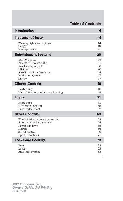 2011 Ford E-350 Owner's Manual Image