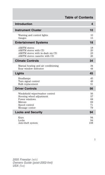 2005 Ford Freestar Owner's Manual Image